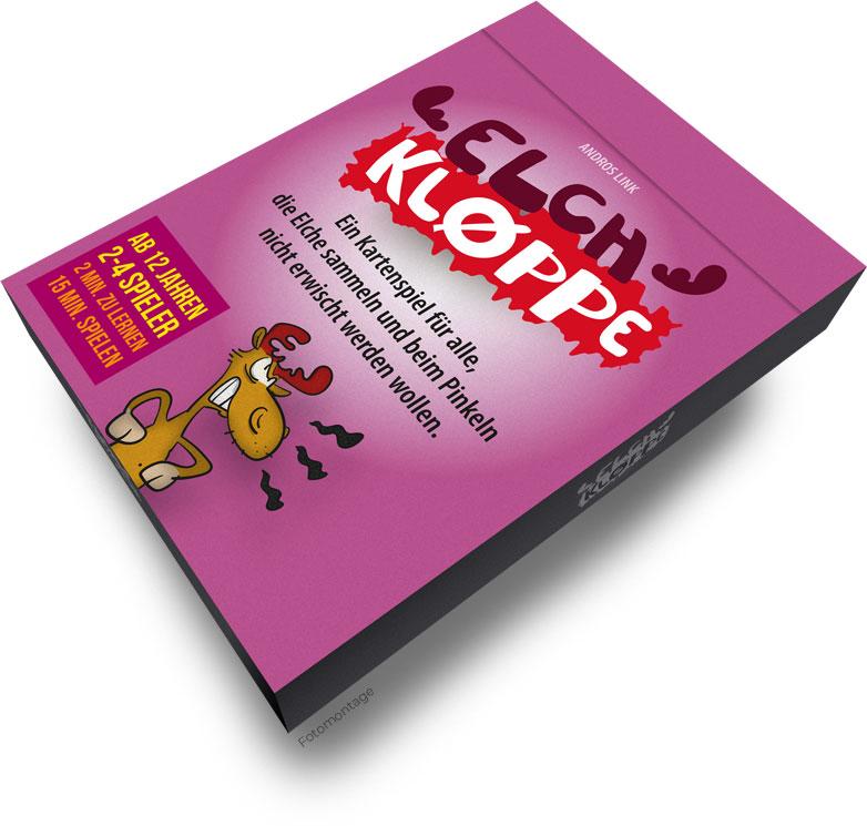 Elch-Kloppe Verpackung Faltschachtel - Das verrückte Kartenspiel
