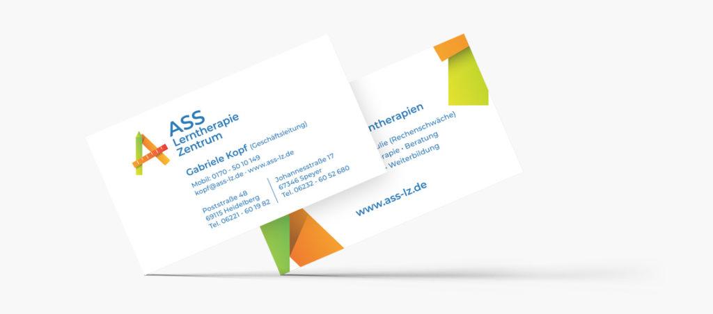 Visitenkarten für das ASS Lerntherapie Zentrum in Heidelberg und Speyer