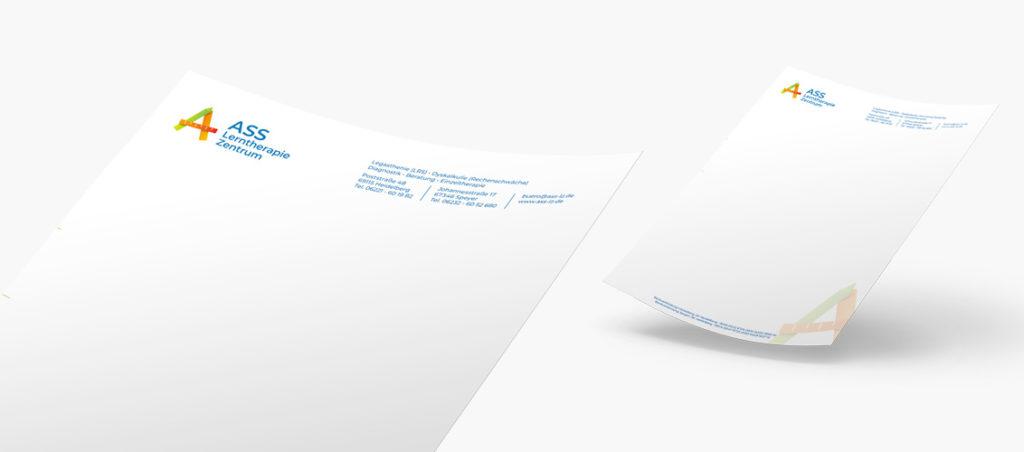Briefpapier für das ASS Lerntherapie Zentrum in Heidelberg und Speyer