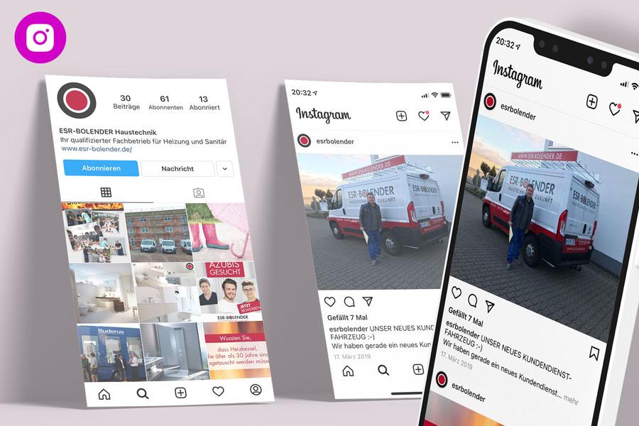 Instagram-Betreuung für ESR-BOLENDER Haustechnik