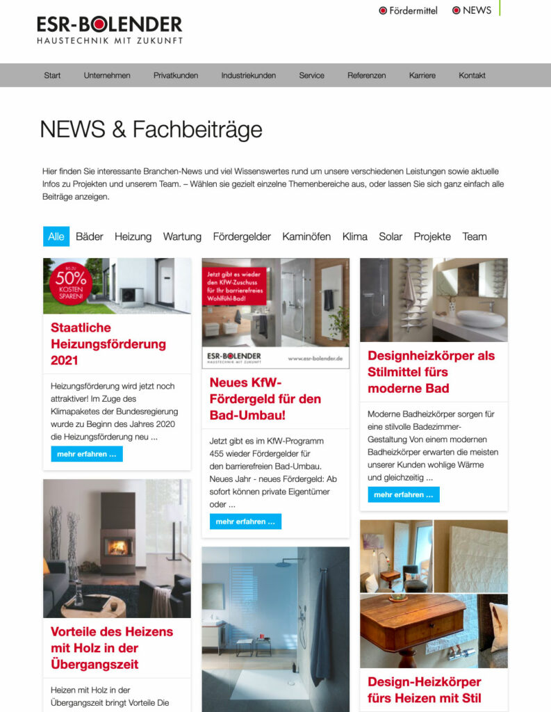 Webseite für ESR-BOLENDER Haustechnik GmbH aus Langenlonsheim bei Bad Kreuznach