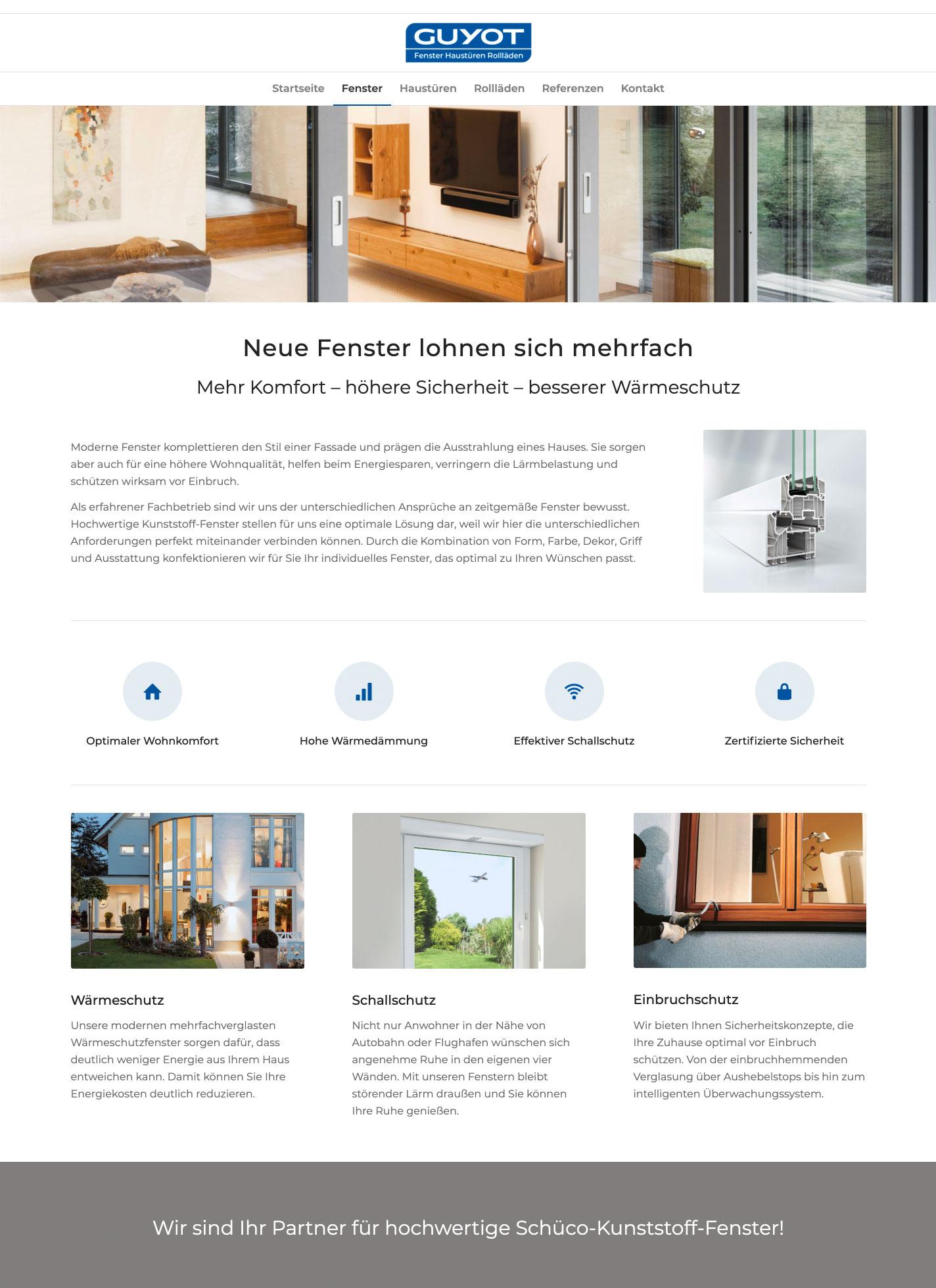 Webseite für GUYOt Fenster Haustüren Rollläden